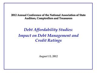2012 Annual Conference of the National Association of State Auditors, Comptrollers and Treasurers