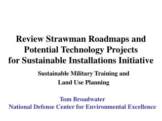 Sustainable Military Training and  Land Use Planning