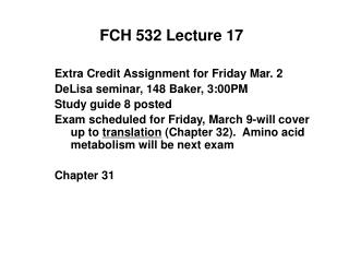 FCH 532 Lecture 17