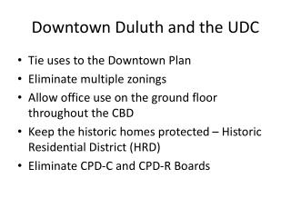 Downtown Duluth and the UDC