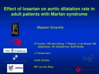 Effect of losartan on aortic dilatation rate in adult patients with Marfan syndrome