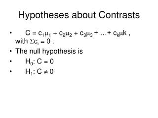 Hypotheses about Contrasts
