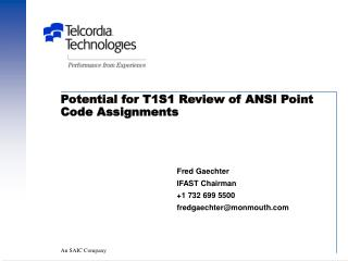 Potential for T1S1 Review of ANSI Point Code Assignments
