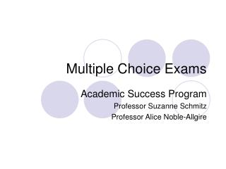 Multiple Choice Exams