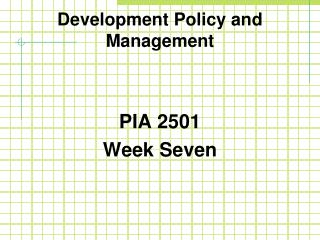 Development Policy and Management