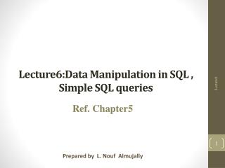 Lecture6:Data  Manipulation in SQL , Simple SQL queries
