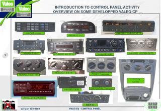INTRODUCTION TO CONTROL PANEL ACTIVITY  OVERVIEW ON SOME DEVELOPPED VALEO CP ...