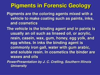 Pigments in Forensic Geology