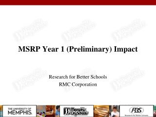 MSRP Year 1 (Preliminary) Impact
