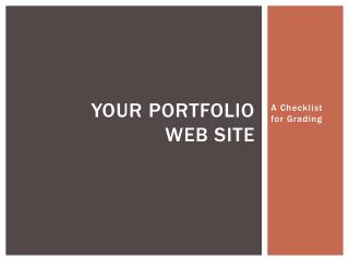 Your Portfolio  Web Site