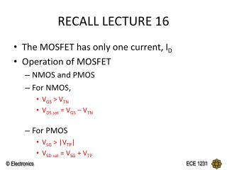 RECALL LECTURE 16
