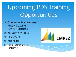 Upcoming PDS Training Opportunities