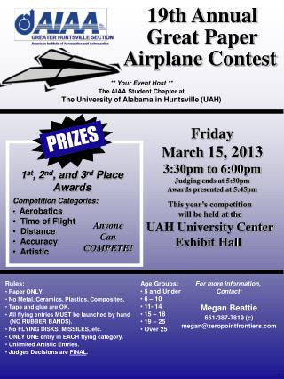 19th  Annual Great Paper Airplane Contest