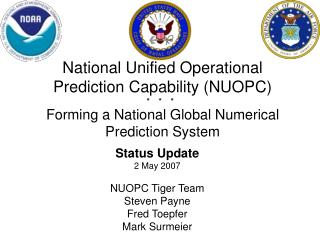 Status Update 2 May 2007 NUOPC Tiger Team  Steven Payne Fred Toepfer Mark Surmeier