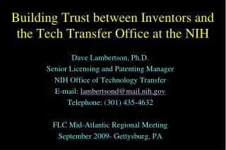 Building Trust between Inventors and the Tech Transfer Office at the NIH