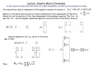 Lecture  Density Matrix Formalism