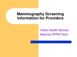 Mammography Screening Information for Providers