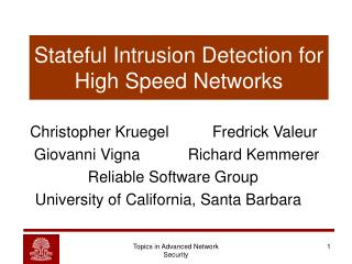 Stateful Intrusion Detection for High Speed Networks