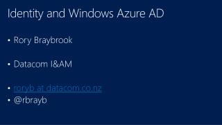 Identity and Windows Azure AD