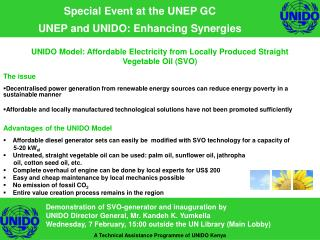 Special Event at the UNEP GC UNEP and UNIDO: Enhancing Synergies