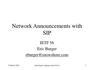 Network Announcements with SIP