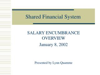 Shared Financial System