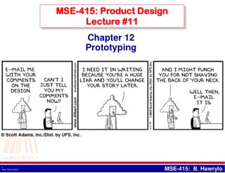 MSE-415: Product Design Lecture #11