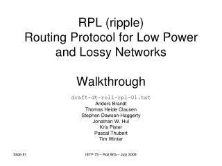 RPL (ripple) Routing Protocol for Low Power and Lossy Networks Walkthrough