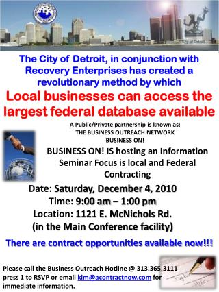 Date:  Saturday, December  4 , 2010 Time:  9:00 am – 1:00 pm Location: 1121 E.  McNichols  Rd.