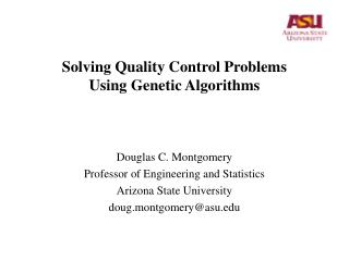 Solving Quality Control Problems Using Genetic Algorithms