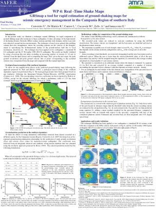 wp 4:  Real -Time  Shake  Maps GRSmap a tool for rapid estimation of ground-shaking maps for