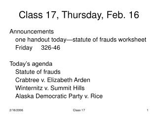Class 17, Thursday, Feb. 16