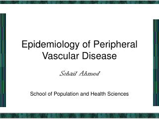 Epidemiology of Peripheral Vascular Disease