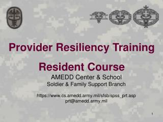 Provider Resiliency Training Resident Course