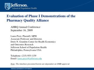 Evaluation of Phase I Demonstrations of the Pharmacy Quality Alliance