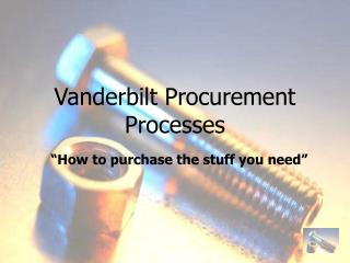 Vanderbilt Procurement Processes