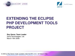 EXTENDING THE ECLIPSE  PHP DEVELOPMENT TOOLS PROJECT