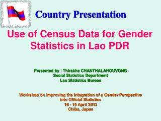 Use of Census Data for Gender Statistics in Lao PDR
