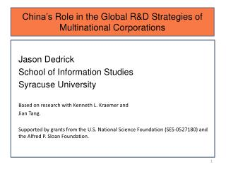 China's  Role in the Global R&D Strategies of Multinational Corporations
