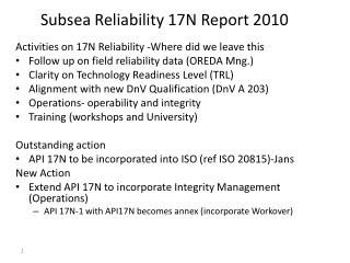 Subsea Reliability 17N Report 2010