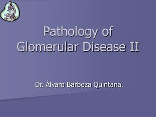 Pathology of Glomerular Disease II