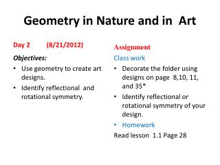 Geometry in Nature and in  Art