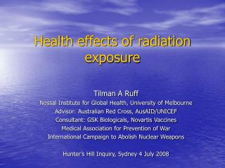 Health effects of radiation exposure