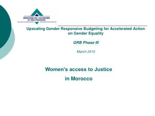 Women's access to Justice  in Morocco