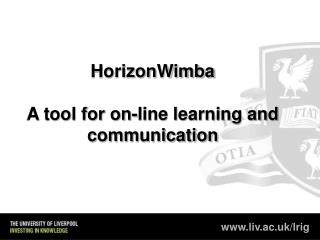 HorizonWimba A tool for on-line learning and communication
