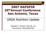 2007 NAFDPIR  20th Annual Conference San Antonio, Texas