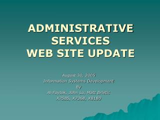 ADMINISTRATIVE SERVICES WEB SITE UPDATE