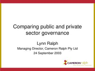 Comparing public and private sector governance