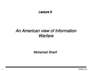 An American view of Information Warfare