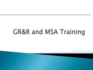 GR&R and MSA Training